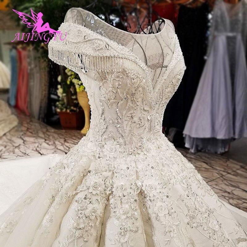 AIJINGYU Wedding Bolero Lace Ivory Long Modest Bridal Gowns Newest 2019 Amazings Nova Shiny Gown Sparkle Korean Wedding Dress