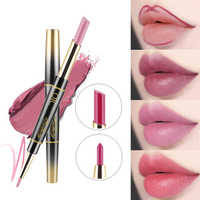 1PC 14 Colors Double Side Lipstick Pencil Moisturizer Smooth Lip Stick Long Lasting Waterproof Matte Lip Liner