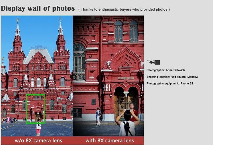 Elecguru Universal 8X Optical Zoom Telescope Camera Lens with Mini Tripod Holder for Mobile iPhone Samsung Galaxy S5 I9600 9