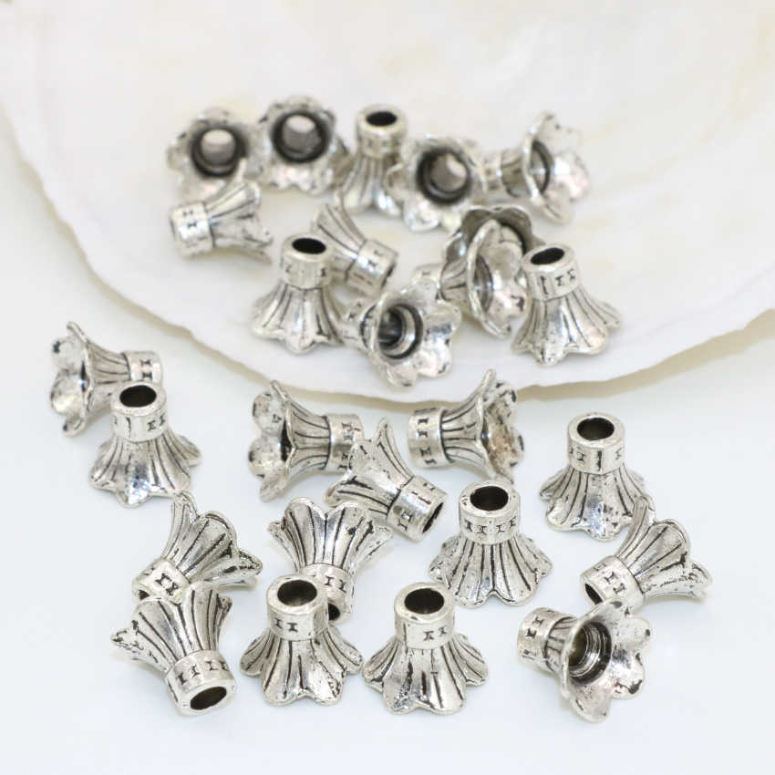 Wholesale price free shipping caps accessories 10pcs flower shape silver-color Tibet spacers beads 9*11mm jewelry findingsB2530