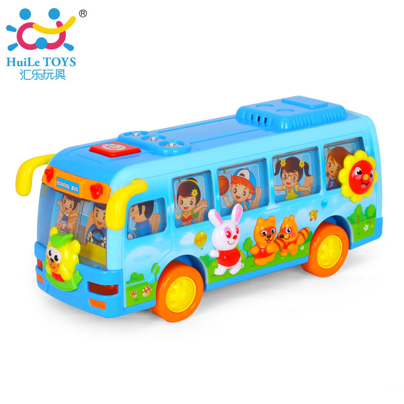 Free Shipping Original Huile Toys Kids Toy Electric Shaking Musical School Bus With Flashing Lights,  Bump and Go Car Baby Toys