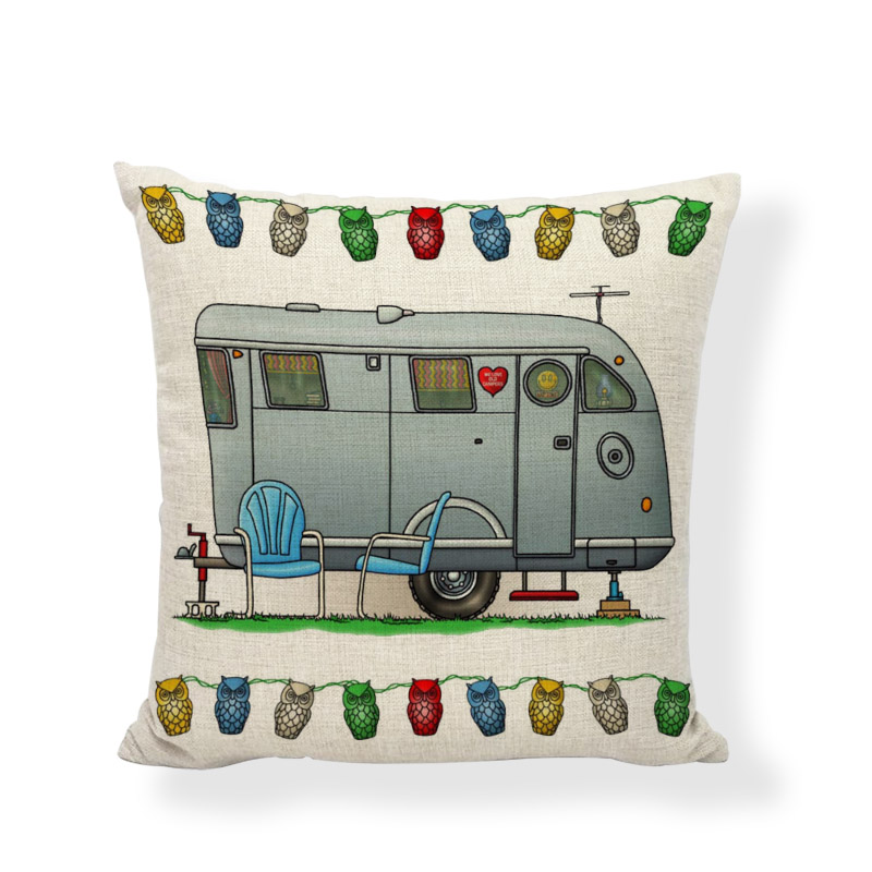 Funny Mobile Travel Cushion Covers Happy Campers Cartoon Throw Pillow Cover Home Decor Outdoor Touring Cars Printing Pillowcases