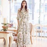 Original 2017 Brand Robe Long Plus Size Slim Waist Casual Sweet White Floral Dress Women Wholesale