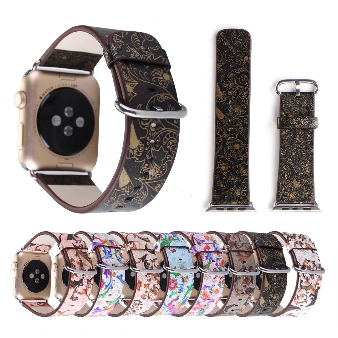 Flower Prints Leather Strap for Apple Watch Series 1/2 Watch Band with Adapters for iWatch Women's Bracelet 38mm 42mm #FWH new style double buckle cuff genuine leather strap for apple watch 38mm 42mm with 1 1 original metal adapters fit series 1 and 2