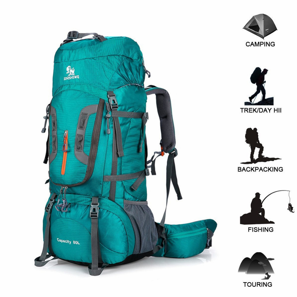 80L Backpack Waterproof Travel Hiking Sports Bag Tactical Outdoor Camping Rucksack Climbing Sports Bag Equipment With Rain Cover Climbing Bags     - title=