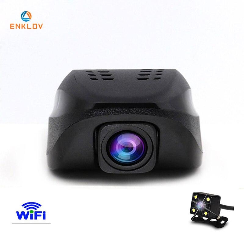 ENKLOV Voiture Dvr WIFI Dvr Version de Nuit Dashcam Vidéo Numérique Enregistreur Caméscope Full HD 1080 p Double Objectif de la Caméra Registrator