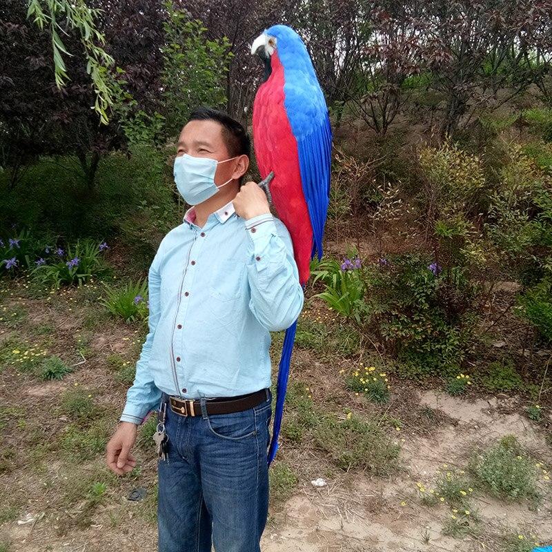 Grande simulation créative perroquet modèle polyéthylène & fourrures bleu & rouge perroquet jouet cadeau environ 120 cm 0372