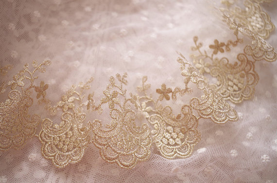 10 yards gold embroidered lace trim, gold mesh scalloped lace trimming,  GT051