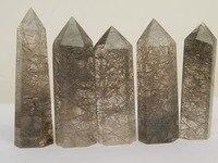 5 rare Natural black hair crystal QUARTZ CRYSTAL WAND POINT HEALING