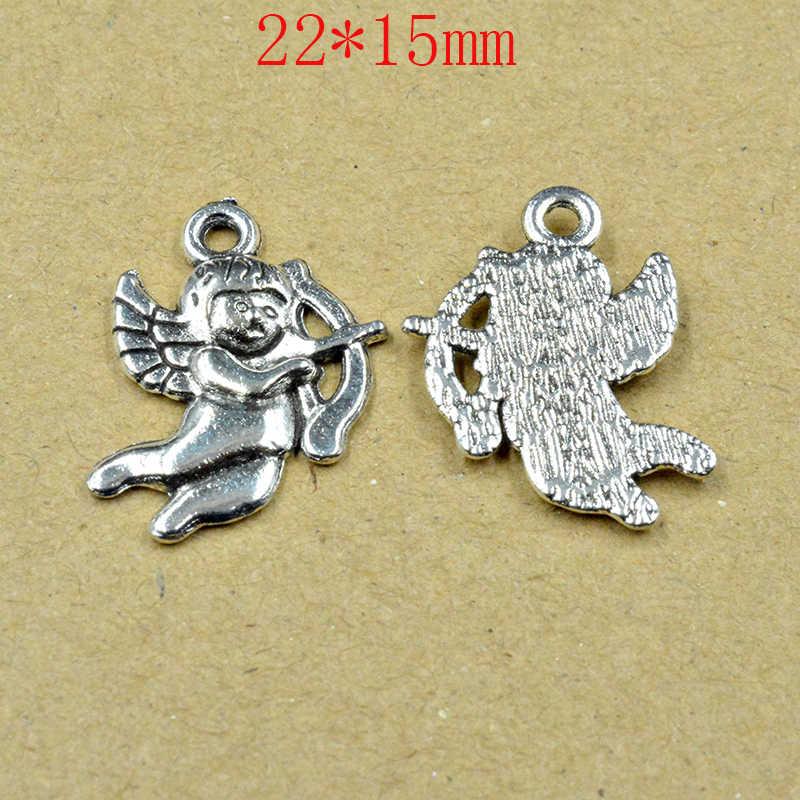 FLTMRH 6 uds 15*22mm plata plateada del Tíbet niña Ángel Hada Cupido dijes colgantes joyería hacer pulsera accesorios D
