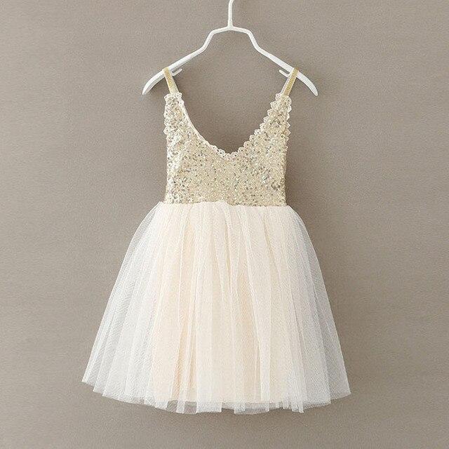 a9012ffba9 Letnie dziecko dziewczyny cekiny Tutu sukienka złoto dzieci koronki tiul  urodziny wesele księżniczka sukienki dla małych
