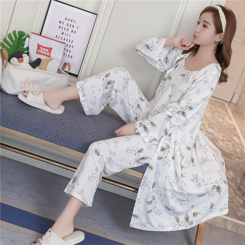 3PCS Sexy Silk   Pajamas     Sets   for Women Spring Long Sleeve Vintage Robes Pyjama Home Clothing Homewear Lounge Gift Three Piece   Set