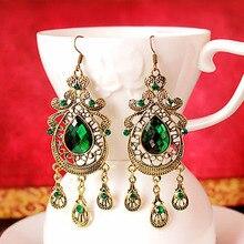 JEPHNE Antique Bronze Green Rhinestone Hollow Tassel Peacock Shape Dangle Long Earrings Vintage Boho Women