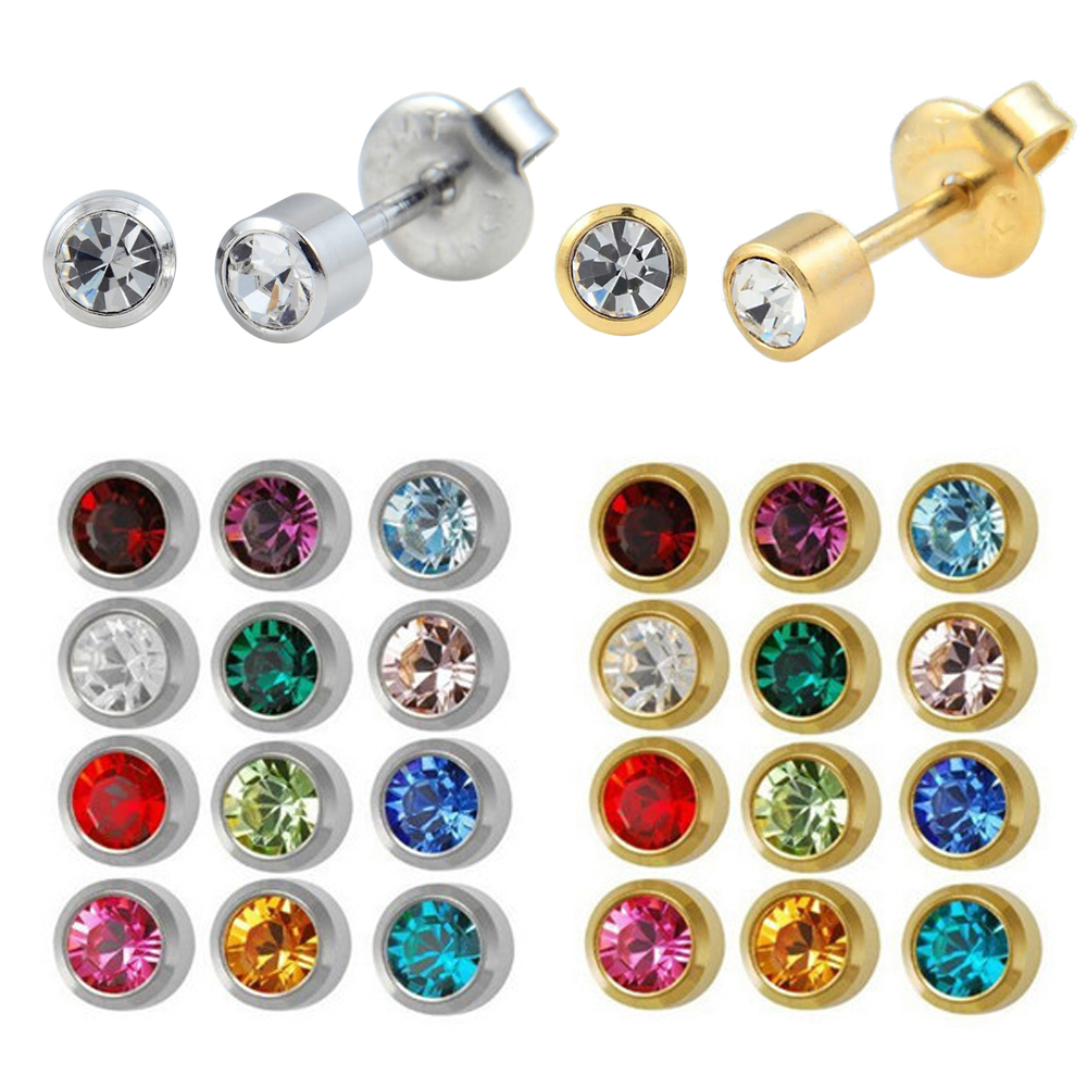 12pairs Fashion Silver Gold Studex Birthstone Ear Studs Piercing ...