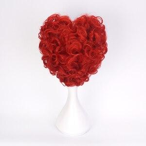 Image 5 - Alice in Wonderland Red Queen Cosplay Wig Queen of Hearts Red Heat Resistant Synthetic Hair Wigs + Wig Cap