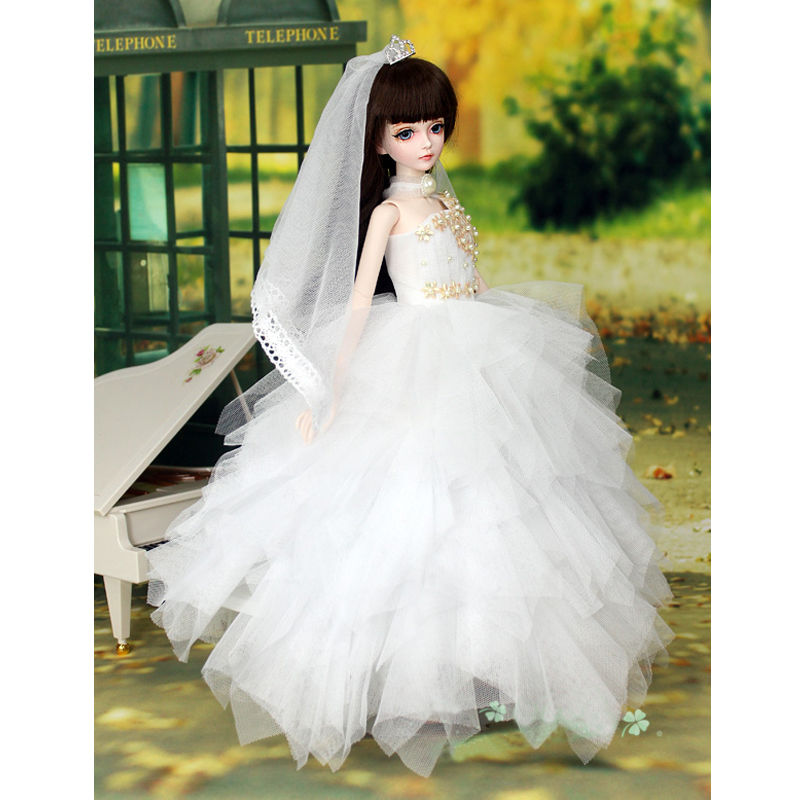 [wamami] 400# White Sequined Dress/Wedding Dress For 1/4 MSD DOD AOD DZ BJD Doll pretty white lace dress for bjd doll 1 6 yosd 1 4 msd 1 3 sd16 dd luts dod as dz doll clothes cwb96