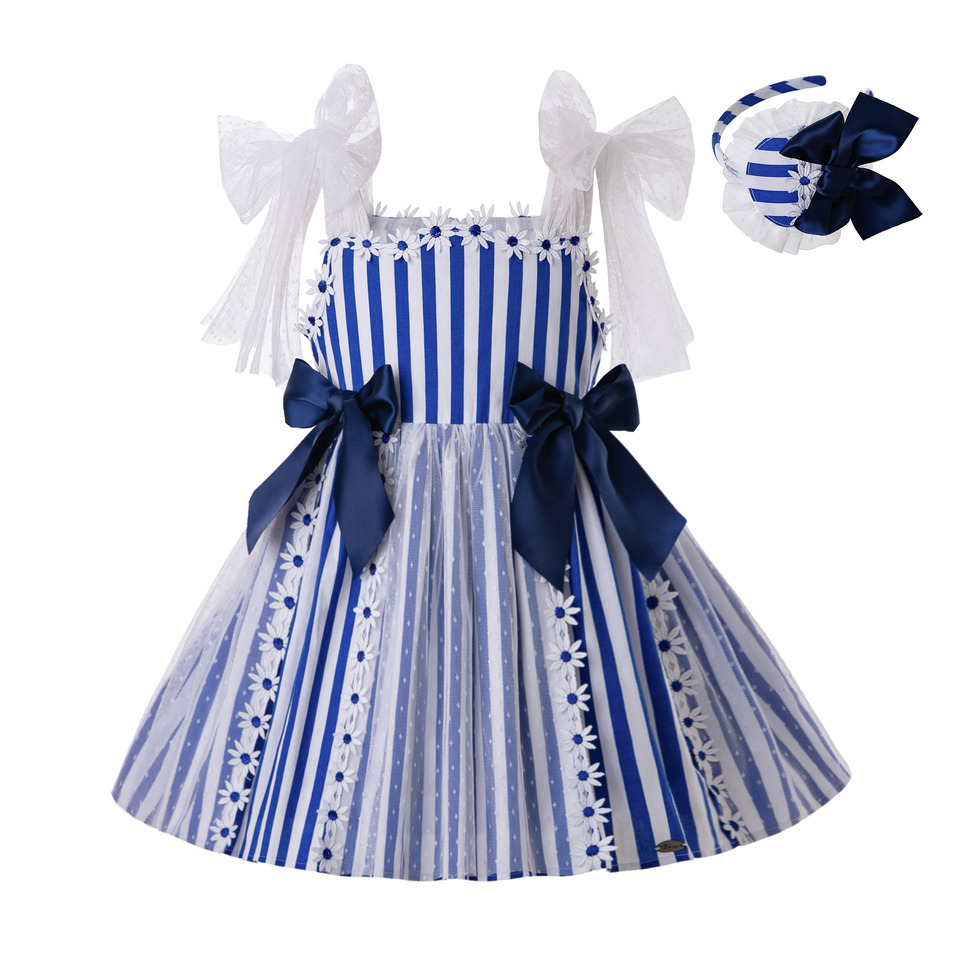 Pettigirl 2 12Y Summer Sling Flower Blue Cotton Lace Stripe Princess Baby Girl Dress With Headband