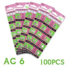 Cheap Hot selling 100 Pcs AG6 LR920 LR921 SR69 Watch Battery Coin Cells Button Batteries Alkaline For Clocks Watches Toys EE6244