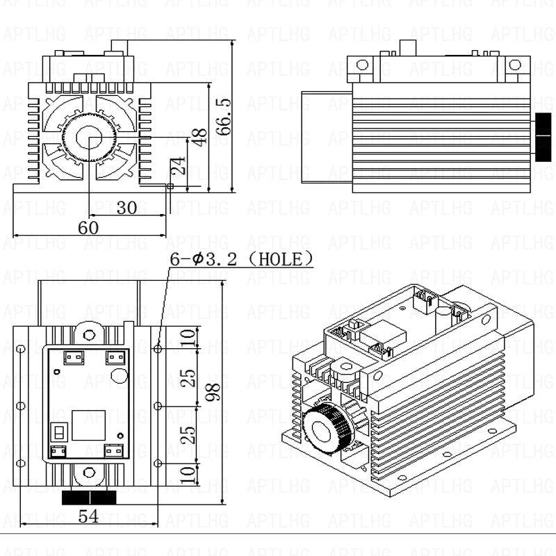 DIY uudsus laserpea 450nm 15000mW 15W sinist laseritoru dioodmoodulit - Puidutöötlemismasinate varuosad - Foto 6