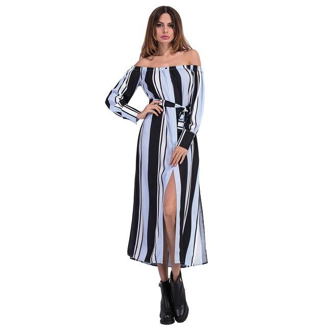 21077eb166d Sexy Elegant Women Dress Long Maxi Striped Dress 2017 Sexy Off Shoulder  Long Sleeve Summer Dress
