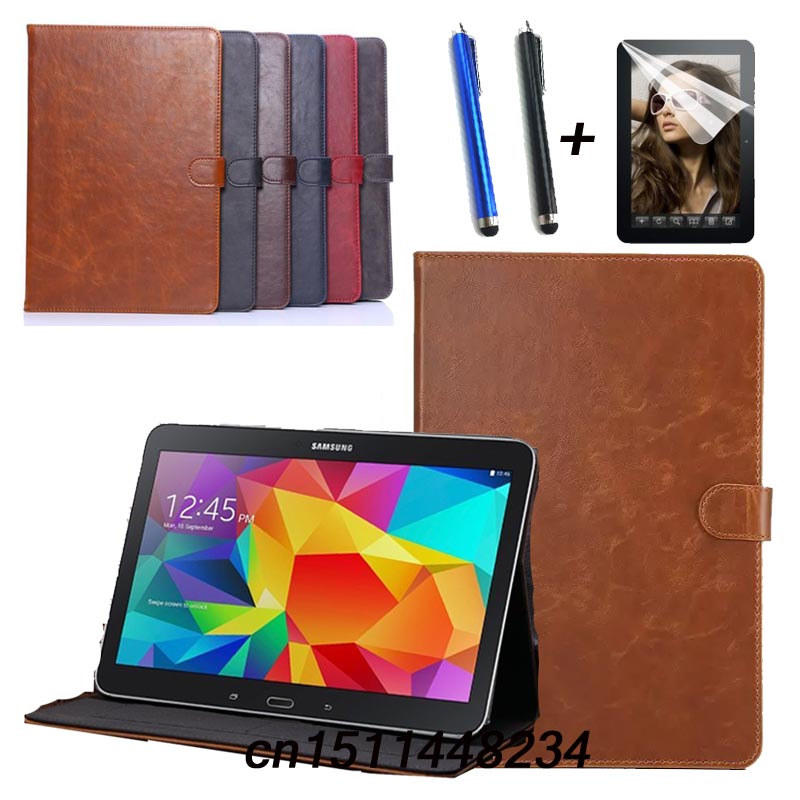 Luxury high quality Leather case For Samsung Tab 4 10.1 smart Cover for Samsung Galaxy Tab 4 T530 T531 T535 Tablet Stand Case new detachable official removable original metal keyboard station stand case cover for samsung ativ smart pc 700t 700t1c xe700t