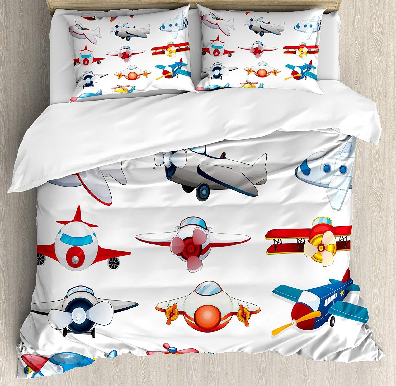 Avion décor housse de couette ensemble reine taille Illustration de différents types d'avions jouets Amusement automatisé enfance dessin animé