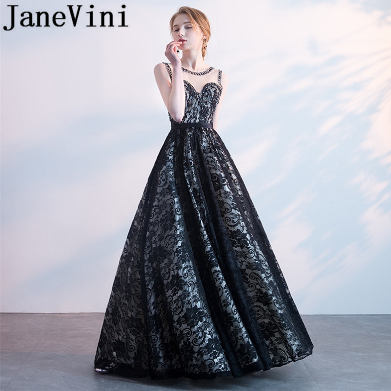 JaneVini Black Lace Beads Crystal Long   Bridesmaid     Dresses   2018 Sexy Backless Sheer Neck A-Line Floor Length Maid Of Honor   Dress