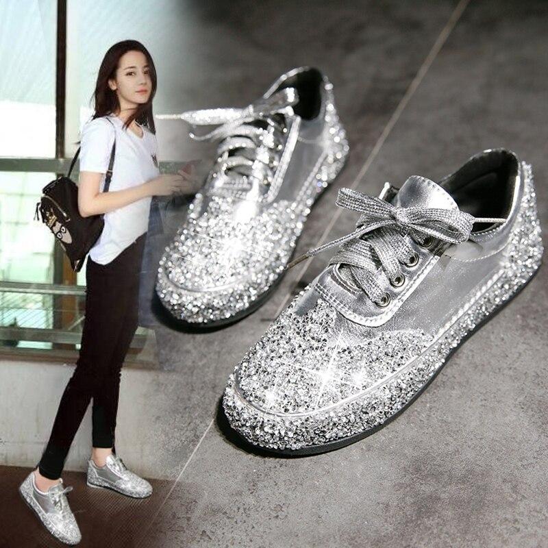 Fashion Sneakers Women Flats Golden