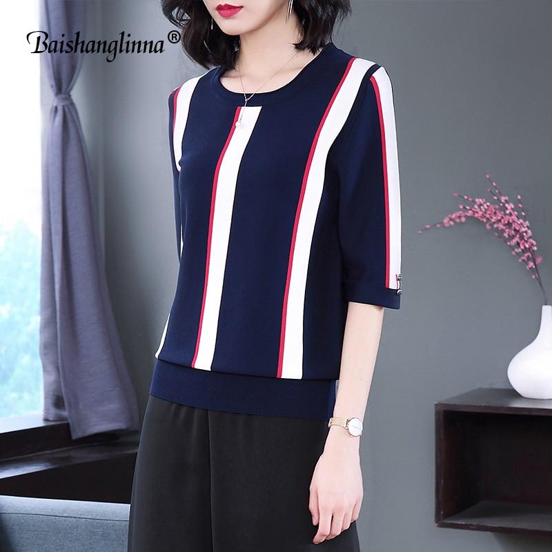 Baishanglinna sommar Kvinnlig T-tröja O-Hals Top Split Half Sleeve - Damkläder