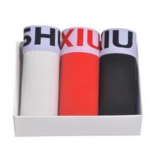 DEWVKV Shorts Mens 3pcs/lot Underwear Soft Boxers Natural Cotton Boxer Men Solid Plus Size