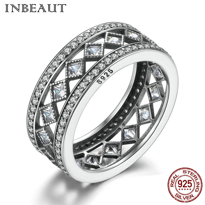 INBEAUT Antique Silver Princess Cut Sparkling Cubic Zircon Wedding Ring for Girl Real 925 Sterling Silver Ring with S925 Stamp