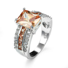 2017 new female jewelry red yellow zircon ring silver crystal ring retro style wedding jewelry gift