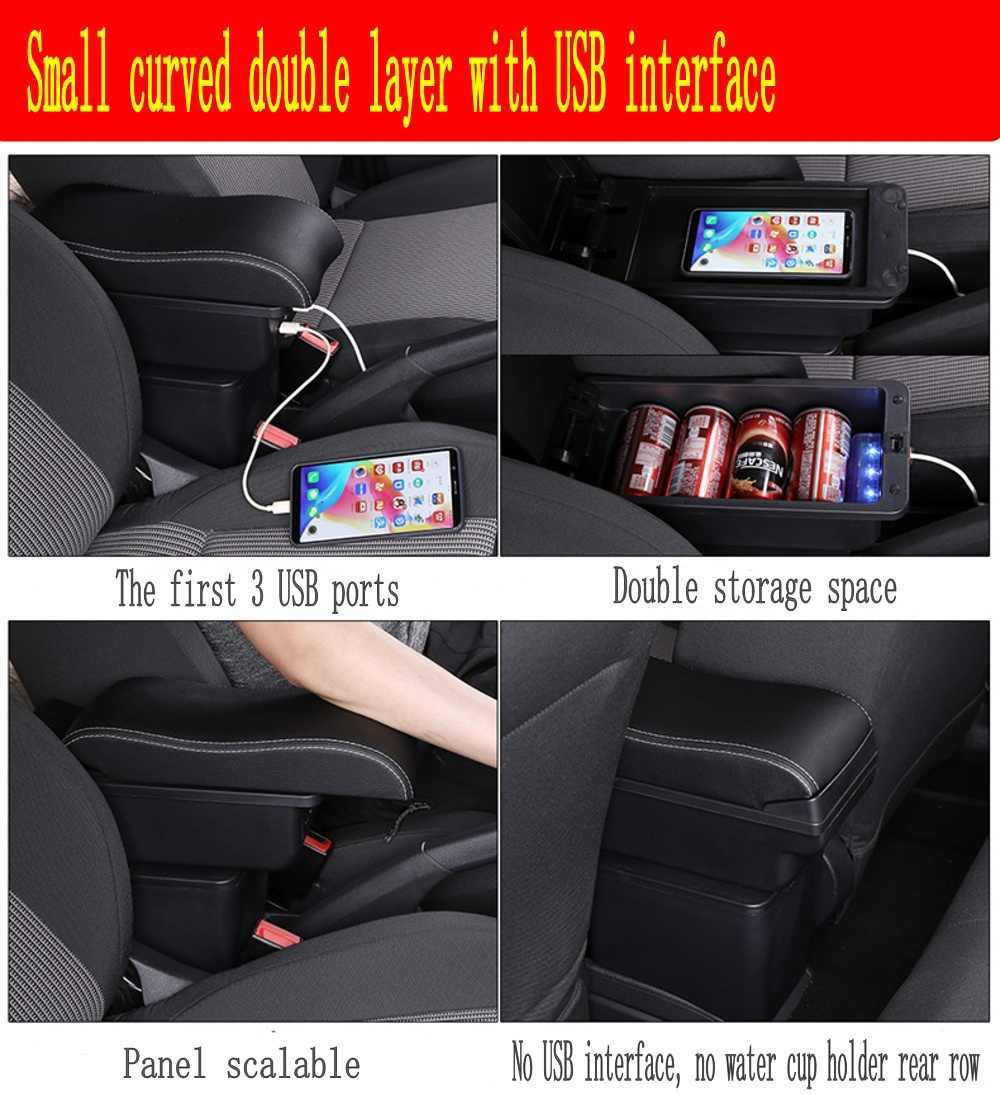 Caja de reposabrazos para Ford Ecosport interior PU cuero Centro consola caja de almacenamiento accesorios de estilo de coche 2013-2017