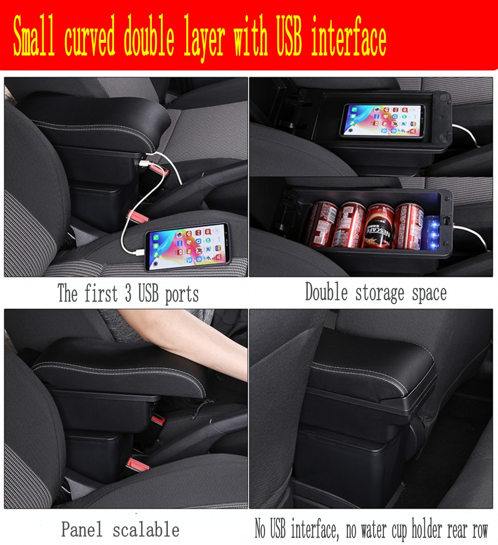 Image 4 - For Polo armrest box Polo V universal 2009 2018 car center console modification accessories double raised with USB-in Armrests from Automobiles & Motorcycles
