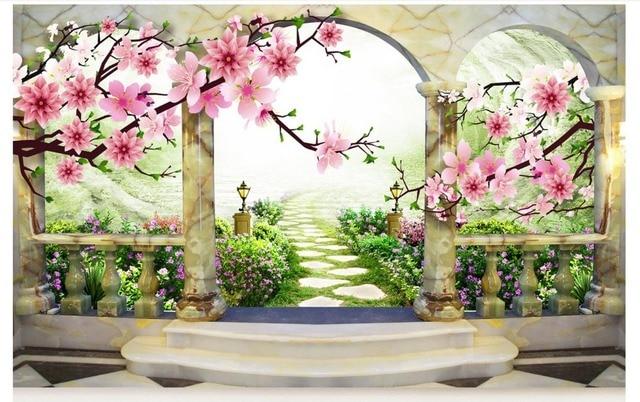 Lovely Custom Photo Wallpaper 3d Murals Wallpaper 3D Peach Landscape Flowers Mural  European Garden Background Wall Painting Living Room