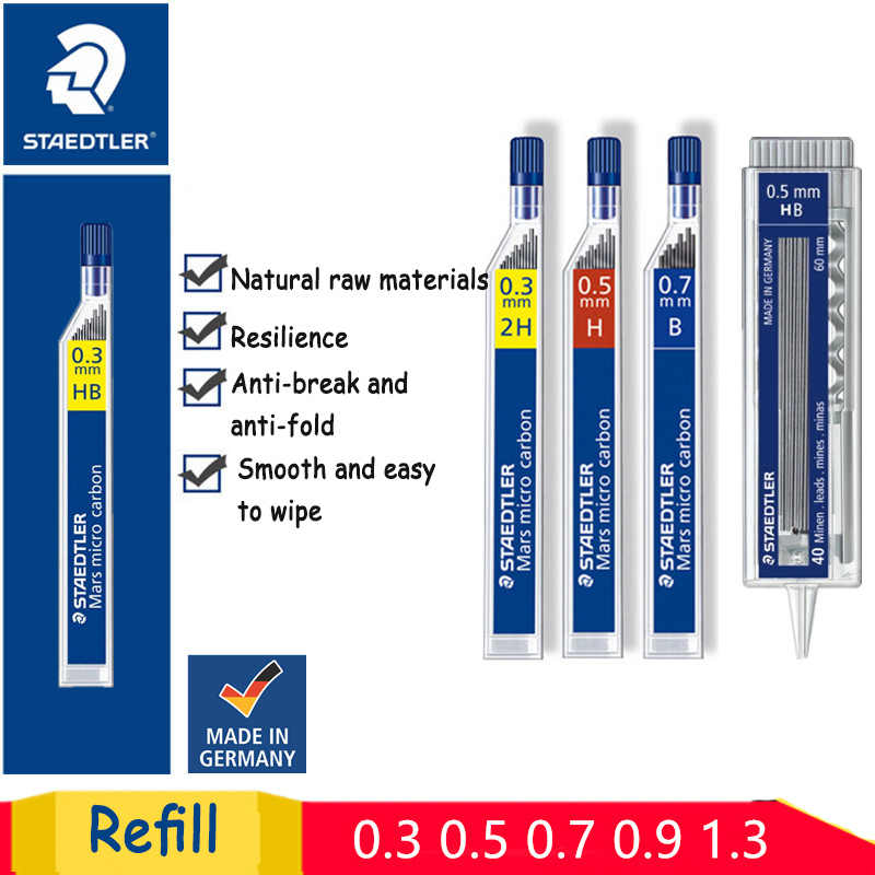 1 pc Staedtler 250 Crayon mécanique Super Fin Anti-fissuration 0.3/0.5/0.7/0.9/1.3 2 H/H/HB/B Mars Micro Carbone Polymère Recharge