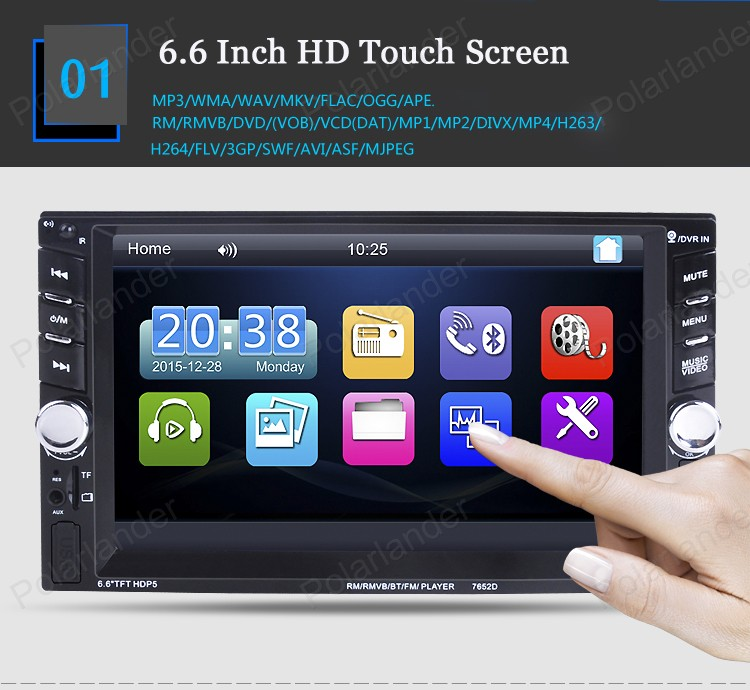 DVR/rear camera input 6.6 Inch 2 din Car Stereo FM Radio MP4 MP5 video Player Bluetooth USB/TF steering wheel control 2 USB