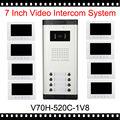 Белый видео дверной звонок разблокировать 7 дюймов 100 м домофон проводной главная домофон с 8 цветной монитор и 1 камера ик