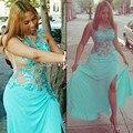 Beautuful Vestidos de Baile para As Mulheres mais Plus Size Vestidos de festa 2015 sexy tulle alta dividir vestidos de noite formal dress livre grátis