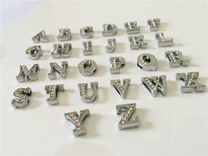 """8 ミリメートル DIY シルバーハーフラインストーンスライドの文字「 A-Z """"手紙自由に選択フィット 8 ミリメートル DIY ベルトブレスレット SL05"""