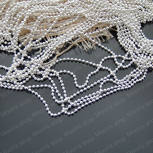 Wholesale Bead Diameter 1mm/1.2mm/<font><b>1.5mm</b></font>/2mm/2.4mm Silver color Copper / Iron <font><b>Ball</b></font> <font><b>Chains</b></font> Accessories 5 Meter (JM2643) image