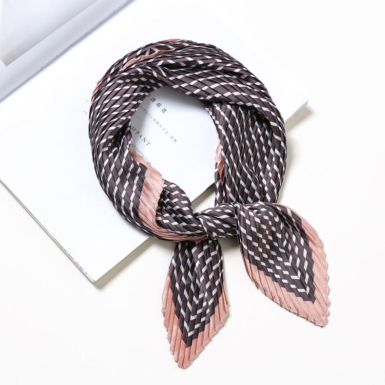 Multi Stripe Fashionable Women Printing Kerchief Neckwear Pleated Square Scarf Bag Tie 2018 New Foulard Bandana LL180243