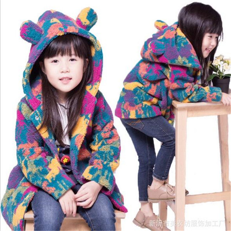 2016 new style baby girl clothing lovely cartoon hooded long sleeve faux fur outerwear for autumn