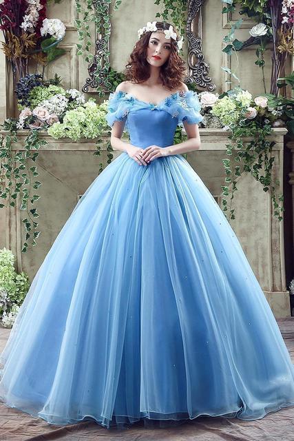competitive price b8155 a4d58 US $115.36 |Real photo babyonline cenerentola azzurro vestito da sera  dell'abito di sfera della principessa fromal vestito da partito CPS239 in  Real ...