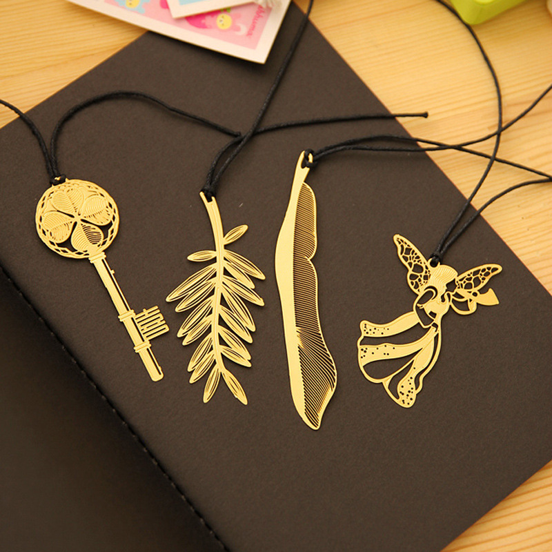 Cute Kawaii Gold Metal Bookmark Vintage Key Feather Angel Bookmarks Paper clip for book Korean Stationery Free shipping 0906