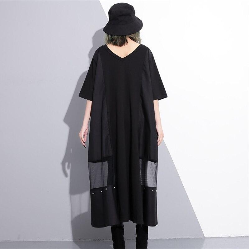 Женское Сетчатое платье CHICEVER, черное платье большого размера с кисточками и карманами