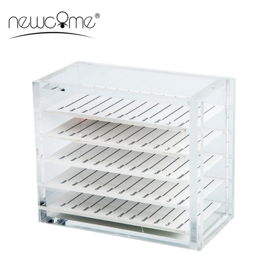 NEWCOME 5 Layers Transparent Eyelash Extension Storage Box Organizer Acrylic Lash Pallet Holder Case Grafting Eyelash Display