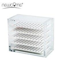 лучшая цена NEWCOME 5 Layers Transparent Eyelash Extension Storage Box Organizer Acrylic Lash Pallet Holder Case Grafting Eyelash Display
