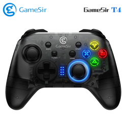 GameSir T4 Gamepad Wireless Game Controller Colorful LED Lights with 2.4G Receiver Motor Vibration Wired Gamepad for Windows PC