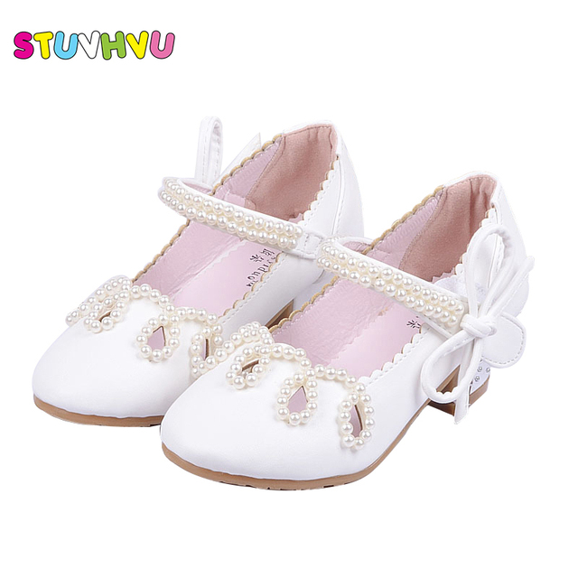 acb77d301093 Brand Children Shoes Beaded Pink Girls High Heels Princess Shoes Snow Queen Shoes  Female Big Kids Bow-tie Party Dance Shoes Gold